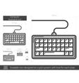 Computer keyboard line icon vector image vector image