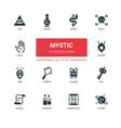 culture theme mystic - line design icons set vector image