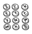 currency icon doodle hand drawn or outline icon vector image