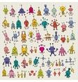 cute cartoon robots set vector image vector image