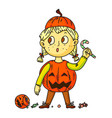 cute pumpkin kid isolated on white background vector image vector image