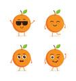 cute set orange fruit character vector image vector image