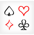 drawn playing card sign symbols vector image vector image