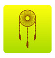 dream catcher sign brown icon at green vector image vector image