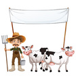 Farmer and cows vector image