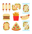 fast food set for luncheonette menu design vector image