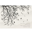 figure flock flying birds on tree branch vector image