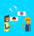 german and english online chat translation concept vector image vector image