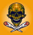 gold skull smoking marijuana vector image vector image