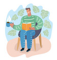 guy seated in armchair and reading a book holiday vector image vector image