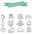 Hand draw of Christmas icons set vector image vector image