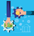 hand with money and gears pinion vector image vector image