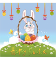 Happy easter with eggs and rabbit vector image
