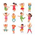 happy kids cartoon children preschool jumping vector image vector image