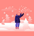 happy man standing under falling snow laughing and vector image