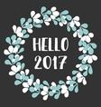 hello 2017 watercolor wreath card vector image vector image