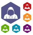 hood icons set hexagon vector image vector image