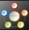 Infographics circular option banner with of 5 step vector image