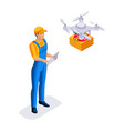 isometric warehouse workers delivery service vector image