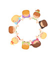 kids dancing in circle holding hands cute little vector image vector image