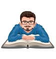 Man reading book Young man in glasses placed his vector image vector image