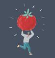 man run with tomato on dark vector image vector image