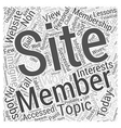 Membership Sites Today Word Cloud Concept vector image vector image
