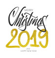 merry christmas lettering gold design vector image