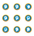mind icons set flat style vector image vector image