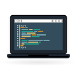 Programming and coding icon - laptop vector image