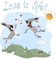 Rabbits and love postcard vector image vector image