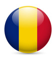 Round glossy icon of romania vector image