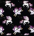 seamless pattern cute unicorns in sky black vector image