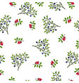seamless pattern with hand drawn wild berries vector image vector image