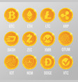 set cryptocurrency gold coins vector image vector image