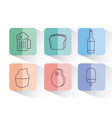 set of fast food and drink icon vector image vector image