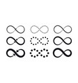 set of infinity symbols eternal limitless vector image vector image