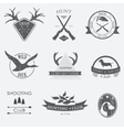 Set of vintage hunting labels and design elements vector image