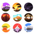 set of wild nature round landscape tropical vector image vector image