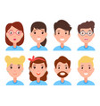 set of women and men faces character constructor vector image vector image