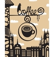 sign above the cafe with a cup of coffee vector image vector image