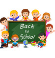 smiling happy schoolchildren with green banner vector image