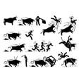 spain bullfight and bull run event pictogram vector image