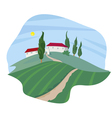 Summer Landscape with cypresses vector image