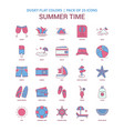 summer time icon dusky flat color - vintage 25 vector image vector image
