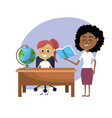 teacher woman educated the student vector image vector image