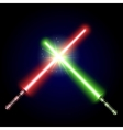 Two Crossed Light Swords Fight vector image