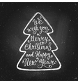 Vintage hand-lettering Christmas tree greeting vector image