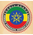 Vintage label cards of Ethiopia flag vector image