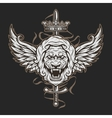 vintage symbol a lion head and wings vector image vector image